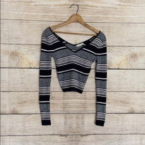 LA Hearts striped long sleeve cropped sweater
